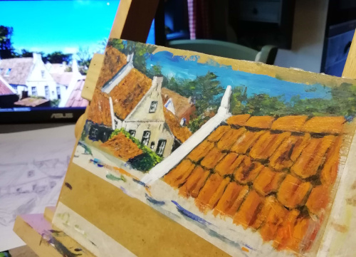 My new painting, Roofs of Hollum.